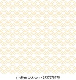 Seamless abstract yellow wave pattern japanese tradition style. Fabric texture retro decorative wallpaper. Chinese traditional oriental ornament background, yellow clouds pattern seamless illustration