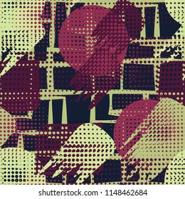 Seamless. Abstraction. A hodgepodge of color. A grid of different rectangles on the background.