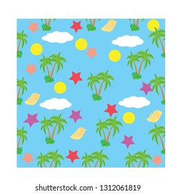 seamless is accompanied by a cute coconut tree
