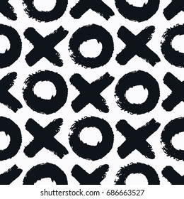 Seamless aesthetic XO (cross zero) pattern. Abstract minimalistic ornament with elements in monochrome. Simple vector repeating texture. Modern flat background for textile, print & any your design.