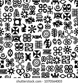 Seamless African Adinkra Pattern - black and white digital art ritual symbols and screen printing nations and tribes Akans of Ghana and Cote DIvoire.