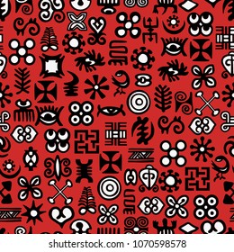 Seamless African Adinkra Pattern - digital art ritual symbols and screen printing nations and tribes Akans of Ghana and Cote DIvoire.