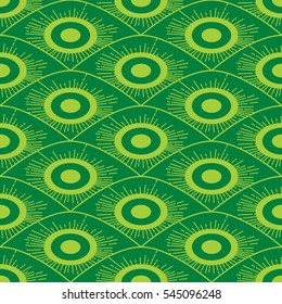 Seamless African green background pattern in art deco style