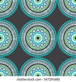 Seamless African pattern with circles and dots