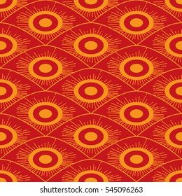 Seamless African red and orange background pattern in art deco style