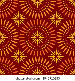 Seamless African Star Shweshwe Pattern in Red and Orange for Fabric and Textile Print