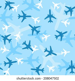 Seamless airplanes vector background