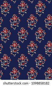 seamless all over  flowers pattern on navy background