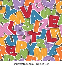 seamless alphabet pattern, eps 10 file with transparencies and clipping path