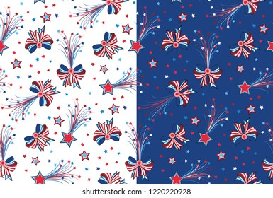 Seamless Americana vector Pattern with Bows and Stars
