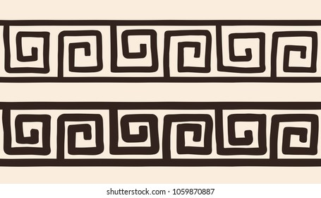 Seamless Ancient Greek national ornament isolated on beige background.