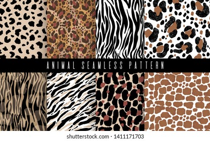 Seamless animal abstract pattern set art. Texture with Hand Painted Crossing Brush Strokes for Print. Fur texture background. Modern graphics.Vector illustration.