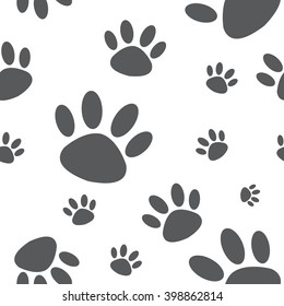 seamless animal footprint pattern / cute pattern / vector.