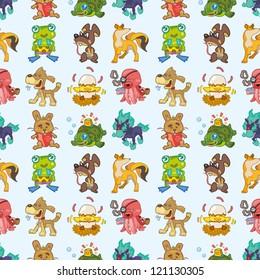 seamless animal pattern,cartoon vector illustration