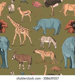Seamless animal planet pattern with giraffe, lioness, hyena, orangutan, parrot, rhino, zebra, deer, lemur, ostrich, anteater, flamingo