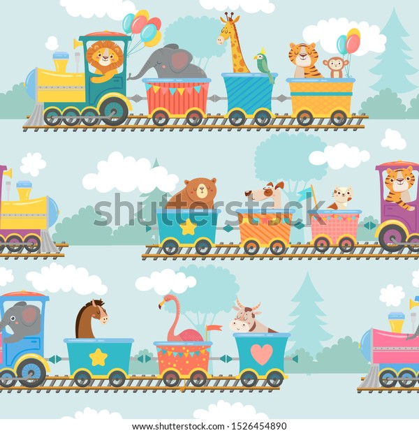 列車の模様にシームレスな動物 鉄道の車や電車の旅 子どもの幸せな