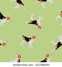 Seamless animals pattern Beagle dogs isolated on green background. Pet drawn simple print kid style. Texture with walking puppy for wall paper, fabric textile, vector eps 10