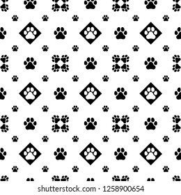 Seamless animal's paw pads pattern