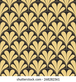 Seamless antique palette retro art deco waves pattern vector