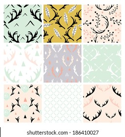 Seamless Antlers Pattern Collection in Vector