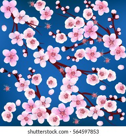 Seamless. Apricot Flower. Sakura. Japan Cherry. Branch with Blooming Flowers. Vector illustration. Springtime realistic.