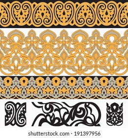 Seamless Arab Borders with template elements vector illustration