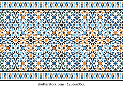 Seamless arabic color ornament. Frieze. Horizontal moroccan seamless geometric pattern. Islamic background, textiles, tile, fabric, interior and exterior elements, mosque.1