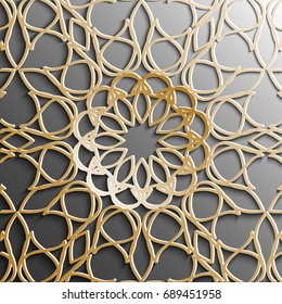 Seamless arabic pattern.gold Arabic ornament on a gray background.Used to design invitations, cards, banners, and others. Carving for metal. Ramadan Kareem. Islamic pattern