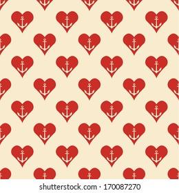 Seamless archor heart pattern. Vector illustration.