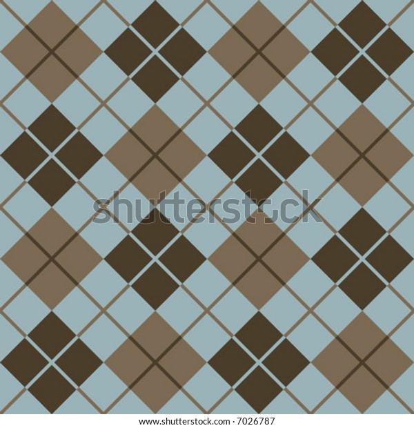 Seamless argyle pattern in browns and blue.