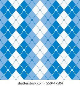 Seamless argyle pattern with dashed lines in shades of  blue and white. Elements are grouped by color. Pattern is in Swatches Palette.