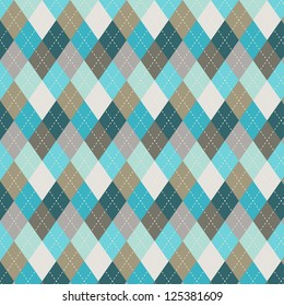 Seamless argyle pattern. Diamond shapes background. Can be used to cloth design, decorative paper, web design, etc. Swatches of seamless pattern included in the file for ease of use.