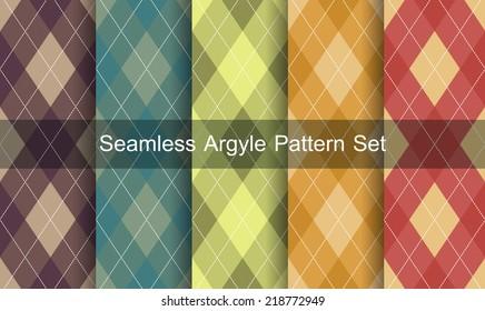 Seamless argyle pattern. Diamond shapes background. Vector set.