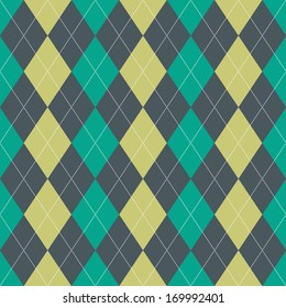 Seamless argyle pattern in green colors with white dotted lines
