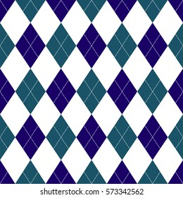 Seamless argyle pattern in shades of dark blue with white stitch. Vector illustration.