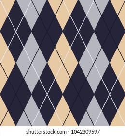 Seamless argyle pattern. Traditional diamond check print. Vector illustration.