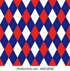 Seamless argyle plaid pattern. Diamond check print in blue, red and white.