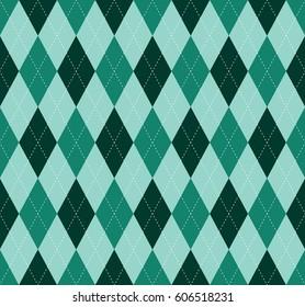 Seamless argyle plaid pattern. Diamond check design in dark pine green, aquamarine, dusty teal and white.