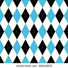 Seamless argyle plaid pattern. Diamond check print in blue, black and white.