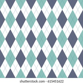 Seamless argyle plaid pattern. Diamond check print in palette of grayish cyan green, dark grayish blue, white and navy blue.