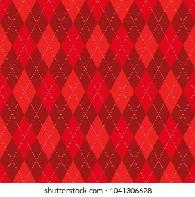 Seamless argyle plaid pattern in shades of red and burgundy with red stitch.