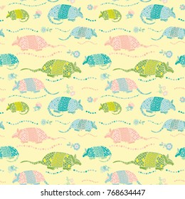 Seamless Armadillo Floral Allover Print Pattern / Yellow background /Vector Illustration / Global Colors saved with Pattern Swatches