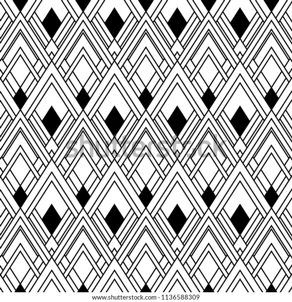 Seamless Art Deco Black White Wallpaper Stock Vector Royalty Free