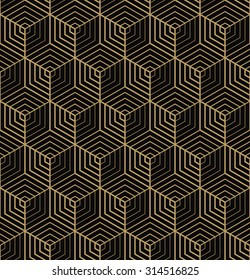 seamless art deco hexagonal pattern.
