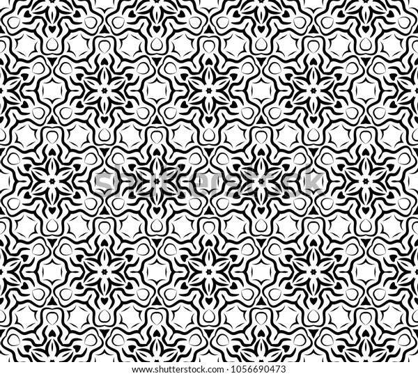 Seamless Art Deco Patterns Simple Monochrome Stock Vector