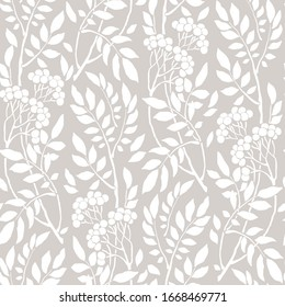 Seamless Art Deco vintage pattern with sprigs and berries.