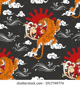Seamless Art Japanese Repeat Pattern Colorful Theme with Crawling Tiger with The Sun, Windy Line  Graphics and Different Cloud Shape on  Diamond Pattern Background Template Design for Wrapping Paper