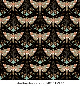 Seamless art nouveau pattern with moth on black background