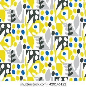 Seamless art pattern with leaf and flowers. The image is made in the style of handmade, bright, simple