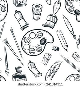 seamless art tools pattern vector illustration